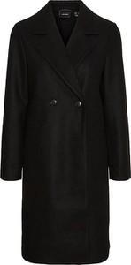 Czarny płaszcz Vero Moda bez kaptura długi