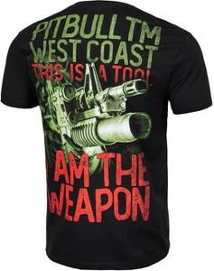 Czarny t-shirt Pit Bull z krótkim rękawem w młodzieżowym stylu