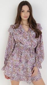Fioletowa sukienka born2be z długim rękawem mini