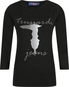 Czarna bluzka Trussardi Jeans z okrągłym dekoltem