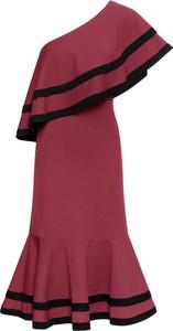 Czerwona sukienka bonprix BODYFLIRT boutique midi bez rękawów
