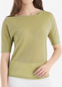 Zielona bluzka POTIS & VERSO z okrągłym dekoltem w stylu casual