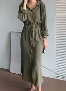 Sukienka Cikelly w stylu casual z kołnierzykiem koszulowa