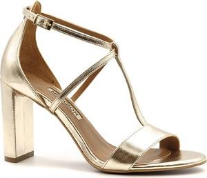 Złote sandały Neścior na wysokim obcasie w stylu klasycznym na obcasie