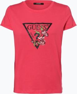 6dc46f6260e3f Czerwony t-shirt Guess Jeans z krótkim rękawem w młodzieżowym stylu