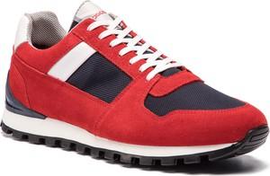 Czerwone buty sportowe Togoshi w sportowym stylu z zamszu sznurowane