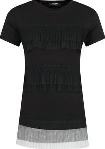Czarna bluzka Mytwin Twinset z krótkim rękawem z okrągłym dekoltem