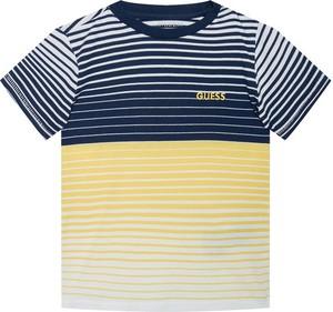 Koszulka dziecięca Guess w paseczki z krótkim rękawem z bawełny