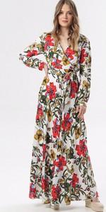 Sukienka born2be z dekoltem w kształcie litery v maxi kopertowa