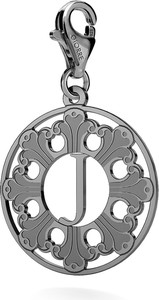 GIORRE SREBRNY CHARMS ROZETA Z LITERĄ 925 : Kolor pokrycia srebra - Pokrycie Czarnym Rodem, Litera - J