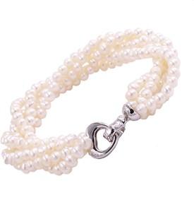 Braccatta asami, bransoletka z białych pereł