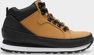 Brązowe buty dziecięce zimowe 4F ze skóry sznurowane dla chłopców