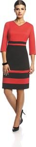 Czerwona sukienka Fokus mini z dekoltem w kształcie litery v z dzianiny