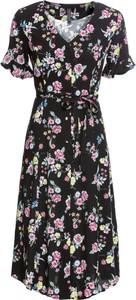 Sukienka bonprix RAINBOW midi z krótkim rękawem kopertowa