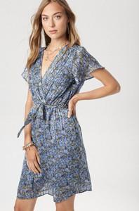 Niebieska sukienka born2be mini z dekoltem w kształcie litery v