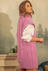 Różowa kamizelka Fobya długa w stylu casual