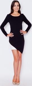 Czarna sukienka Katrus z długim rękawem mini