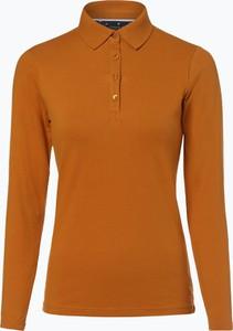 Pomarańczowy t-shirt Marie Lund w stylu casual z bawełny z kołnierzykiem