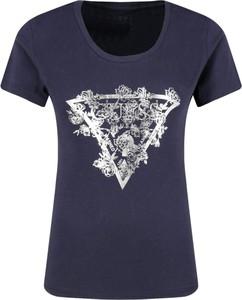 Niebieski t-shirt Guess Jeans z krótkim rękawem z okrągłym dekoltem