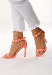 Pomarańczowe sandały born2be na wysokim obcasie w stylu klasycznym na obcasie