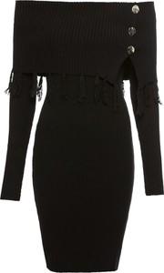 Czarna sukienka bonprix BODYFLIRT boutique midi z długim rękawem