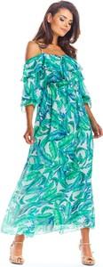 Zielona sukienka Awama maxi z okrągłym dekoltem z długim rękawem