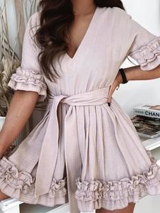 Różowa sukienka Versada z krótkim rękawem z bawełny
