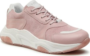Różowe buty sportowe dziecięce Lasocki Young dla dziewczynek ze skóry