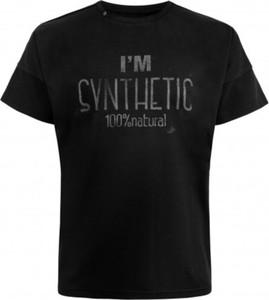 Czarny t-shirt Synthetic 100%natural z dzianiny