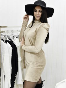 Brązowa sukienka Fason mini ze sztruksu z długim rękawem