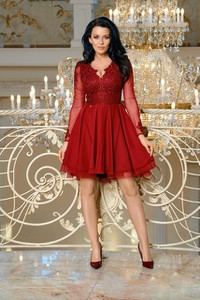 Sukienka E-sukienki.pl z tiulu z długim rękawem mini