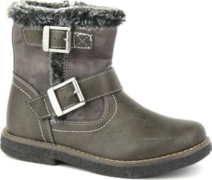 8544d106c46ba Brązowe buty dziecięce zimowe American Club dla dziewczynek na zamek