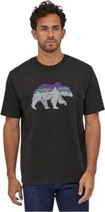 Czarny t-shirt Patagonia z krótkim rękawem z bawełny