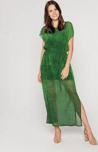 Zielona sukienka Lavard z szyfonu maxi