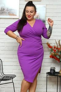 Fioletowa sukienka KARKO z dekoltem w kształcie litery v z długim rękawem ołówkowa