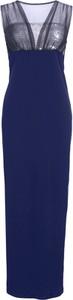 Niebieska sukienka bonprix BODYFLIRT boutique maxi z dekoltem w kształcie litery v z szyfonu