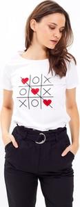 T-shirt Gate z okrągłym dekoltem w młodzieżowym stylu z bawełny