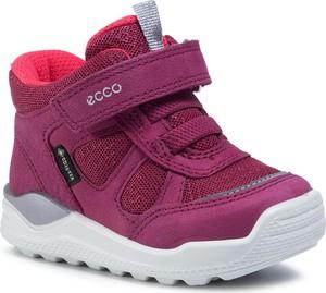 Różowe buty dziecięce zimowe eobuwie.pl z goretexu na rzepy