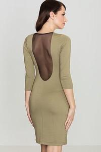 Zielona sukienka LENITIF z długim rękawem mini