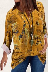 Żółta bluzka Cikelly z kołnierzykiem z długim rękawem