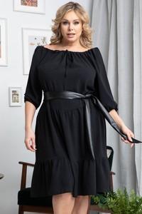 Czarna sukienka KARKO hiszpanka z długim rękawem trapezowa