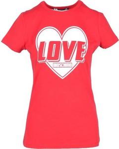 Bluzka Love Moschino w młodzieżowym stylu z okrągłym dekoltem z bawełny