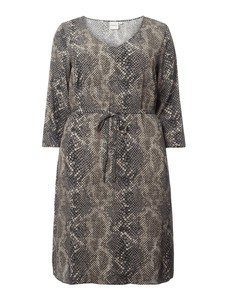 Brązowa sukienka Junarose z długim rękawem mini w stylu casual