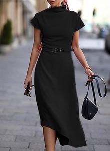 Czarna sukienka Cikelly z krótkim rękawem midi asymetryczna