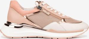 Różowe buty sportowe Hogl ze skóry sznurowane