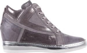 Brązowe buty sportowe bayla na koturnie na zamek ze skóry