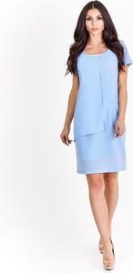Niebieska sukienka Fokus baskinka bez rękawów