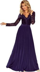 Brązowa sukienka NUMOCO rozkloszowana z długim rękawem z dekoltem w kształcie litery v