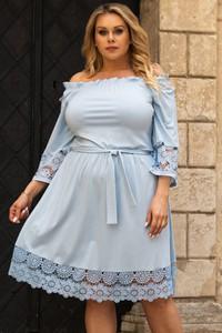 Niebieska sukienka KARKO mini trapezowa z tkaniny