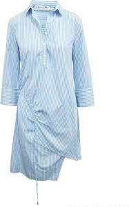 Niebieska sukienka Dior w stylu casual z dekoltem w kształcie litery v z długim rękawem